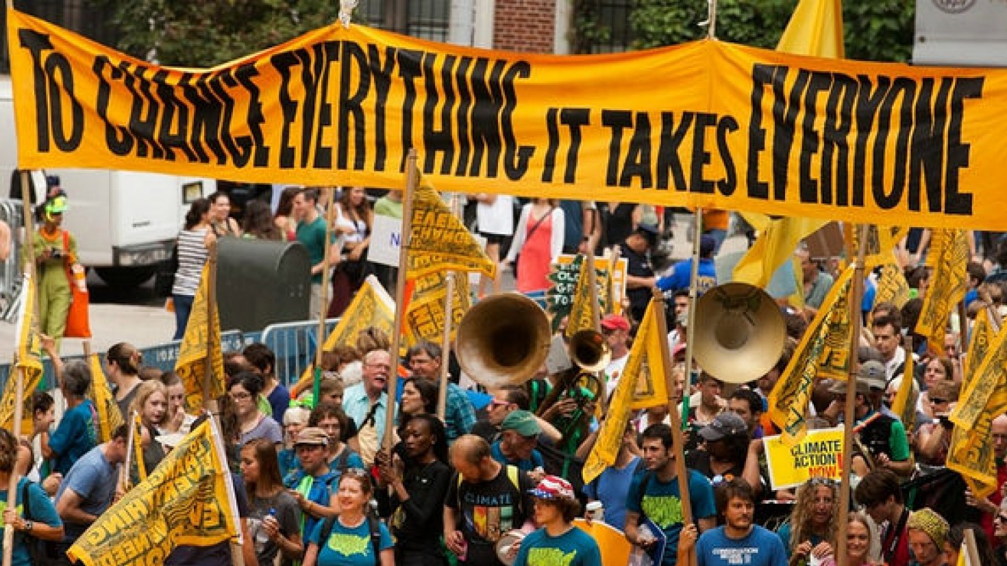 more than 300 000 people took to the streets of new york city for the people's climate march last year. but most people oppose climate action. photo: south bend voice / FLickr