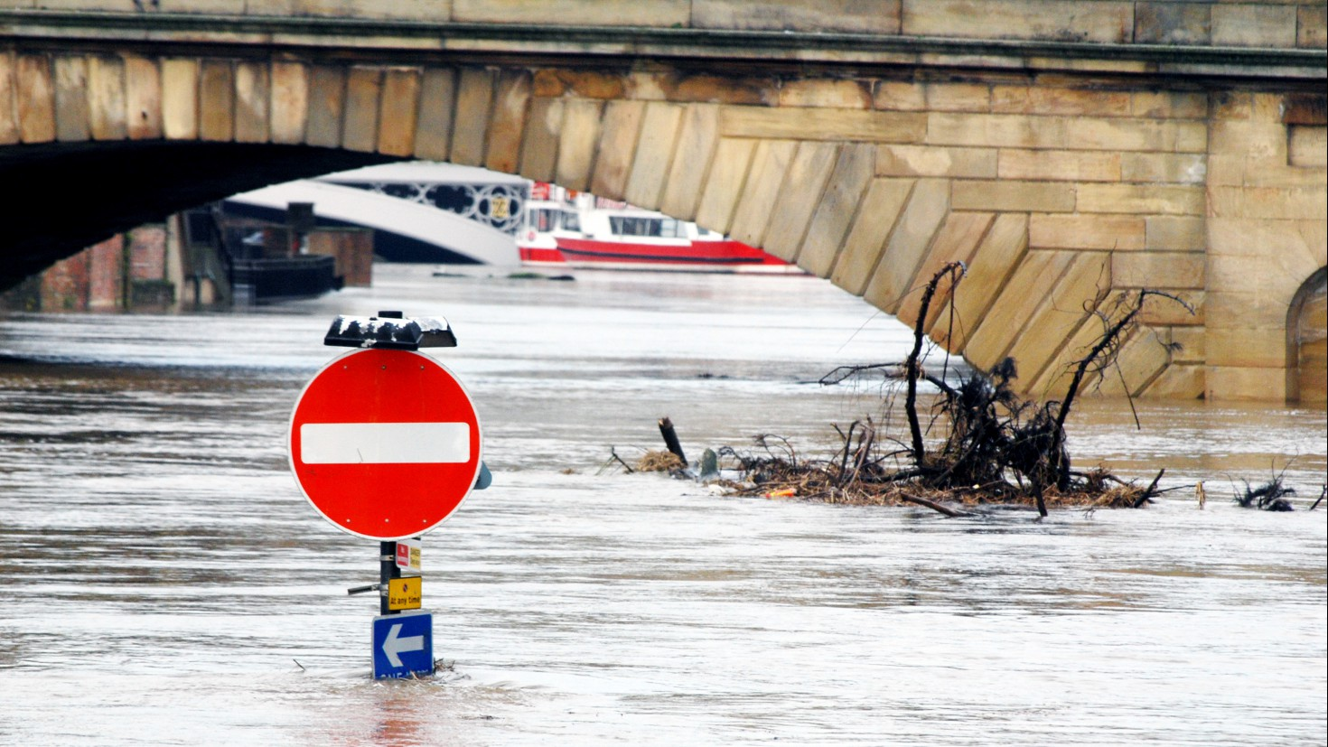 What is climate risk for investments? Photo: flooding in yorkshire, UK.
